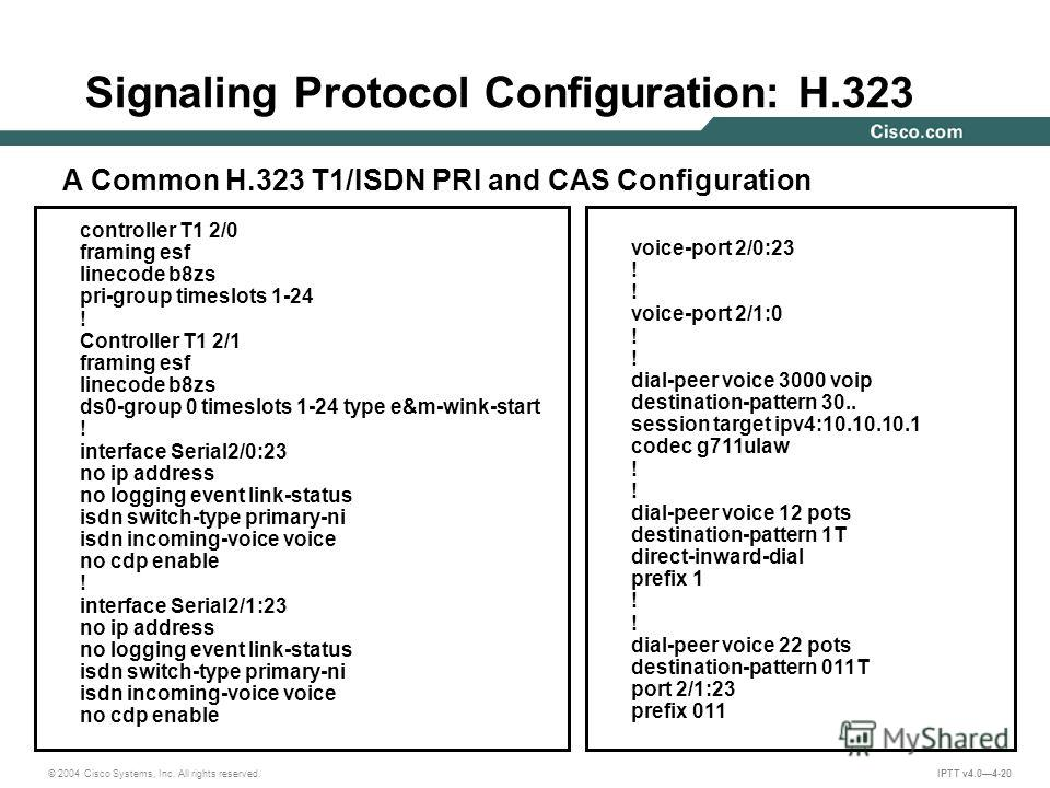 © 2004 Cisco Systems, Inc. All rights reserved. IPTT v4.04-20 Signaling Protocol Configuration: H.323 controller T1 2/0 framing esf linecode b8zs pri-group timeslots 1-24 ! Controller T1 2/1 framing esf linecode b8zs ds0-group 0 timeslots 1-24 type e