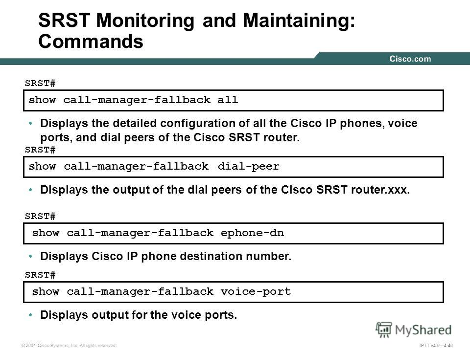 © 2004 Cisco Systems, Inc. All rights reserved. IPTT v4.04-40 show call-manager-fallback all SRST# Displays the detailed configuration of all the Cisco IP phones, voice ports, and dial peers of the Cisco SRST router. show call-manager-fallback dial-p