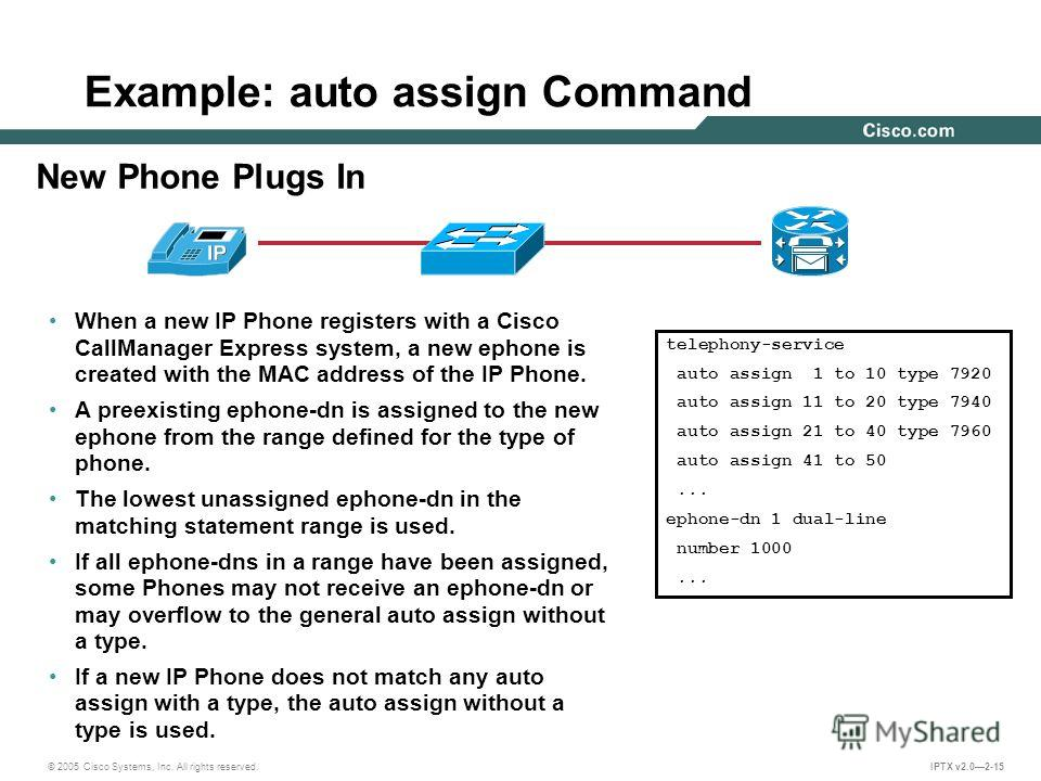 © 2005 Cisco Systems, Inc. All rights reserved. IPTX v2.02-15 Example: auto assign Command New Phone Plugs In telephony-service auto assign 1 to 10 type 7920 auto assign 11 to 20 type 7940 auto assign 21 to 40 type 7960 auto assign 41 to 50... ephone