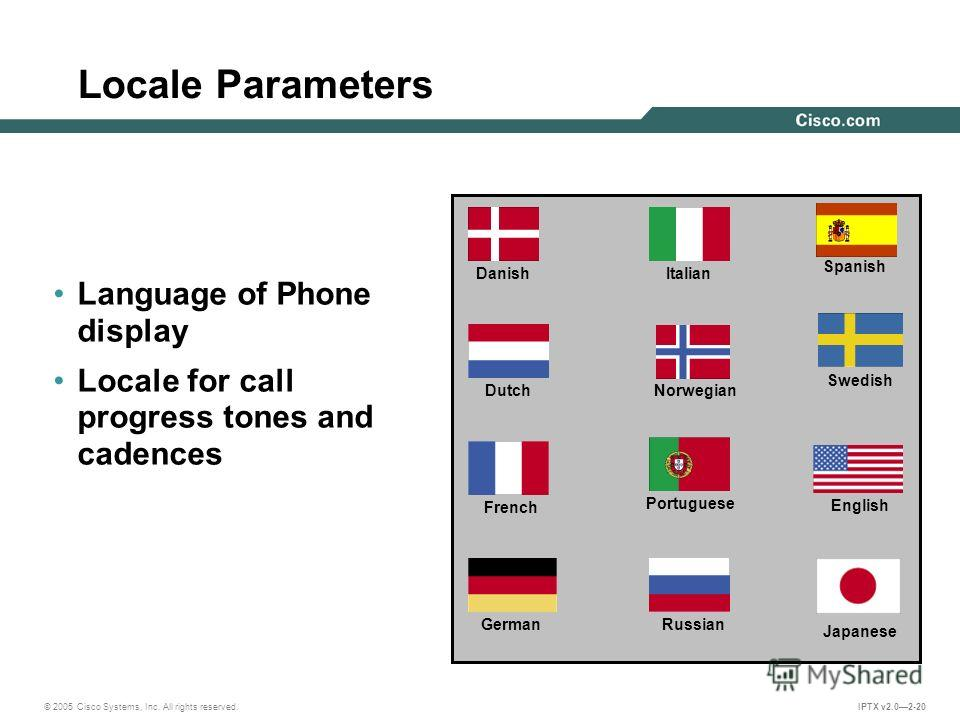 © 2005 Cisco Systems, Inc. All rights reserved. IPTX v2.02-20 Locale Parameters Language of Phone display Locale for call progress tones and cadences Danish Dutch French German Swedish Spanish Portuguese Norwegian Italian Russian English Japanese