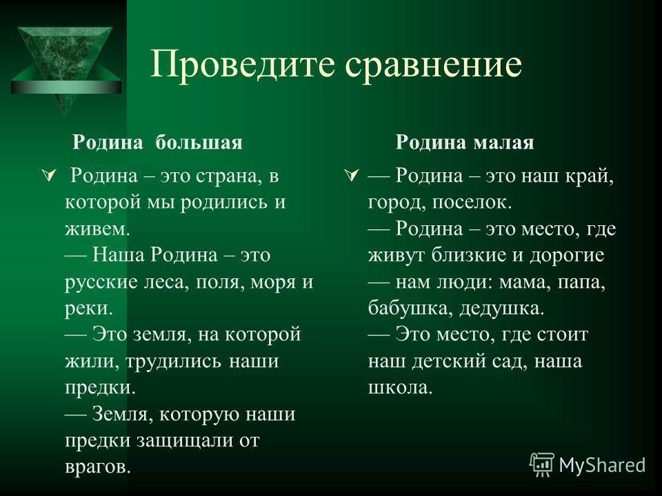 Проведите сравнение Родина большая Родина – это страна, в которой мы родились и живем. Наша Родина – это русские леса, поля, моря и реки. Это земля, на которой жили, трудились наши предки. Земля, которую наши предки защищали от врагов. Родина малая Р