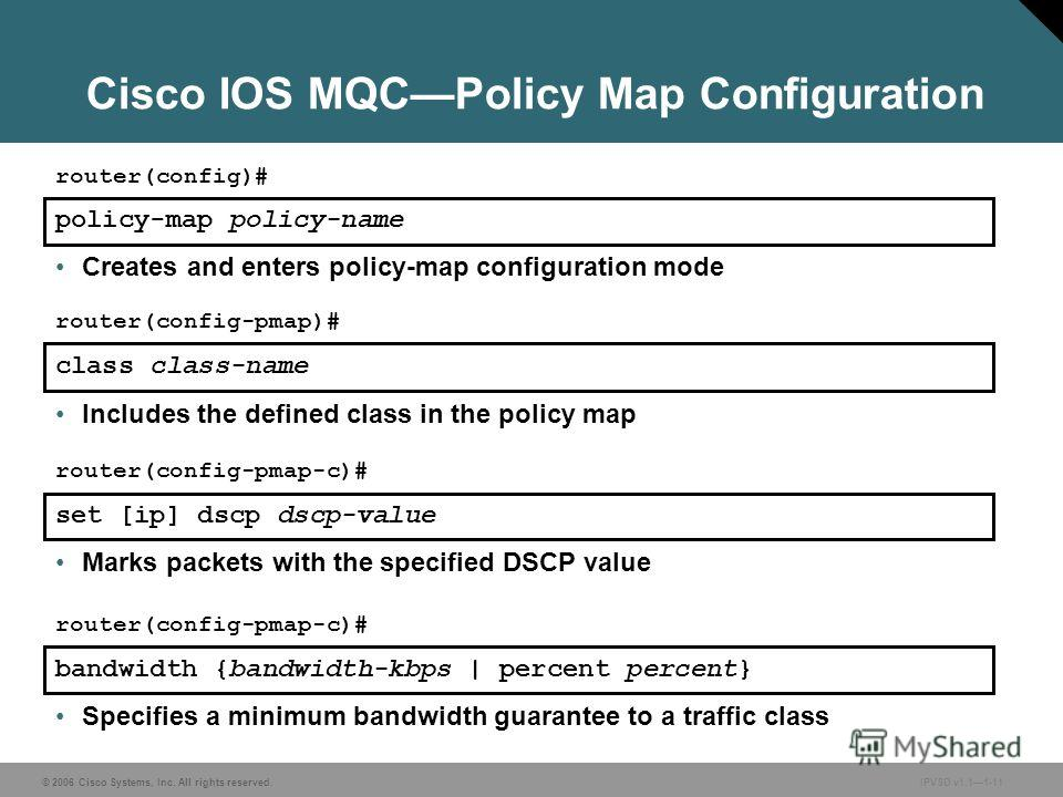 © 2006 Cisco Systems, Inc. All rights reserved. IPVSD v1.11-11 Cisco IOS MQCPolicy Map Configuration Specifies a minimum bandwidth guarantee to a traffic class policy-map policy-name router(config)# Creates and enters policy-map configuration mode cl