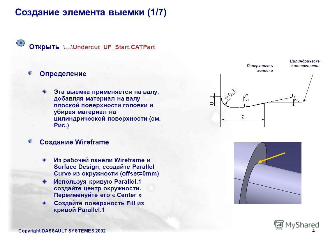 Copyright DASSAULT SYSTEMES 20024 Создание элемента выемки (1/7) Определение Эта выемка применяется на валу, добавляя материал на валу плоской поверхности головки и убирая материал на цилиндрической поверхности (см. Рис.) Создание Wireframe Из рабоче