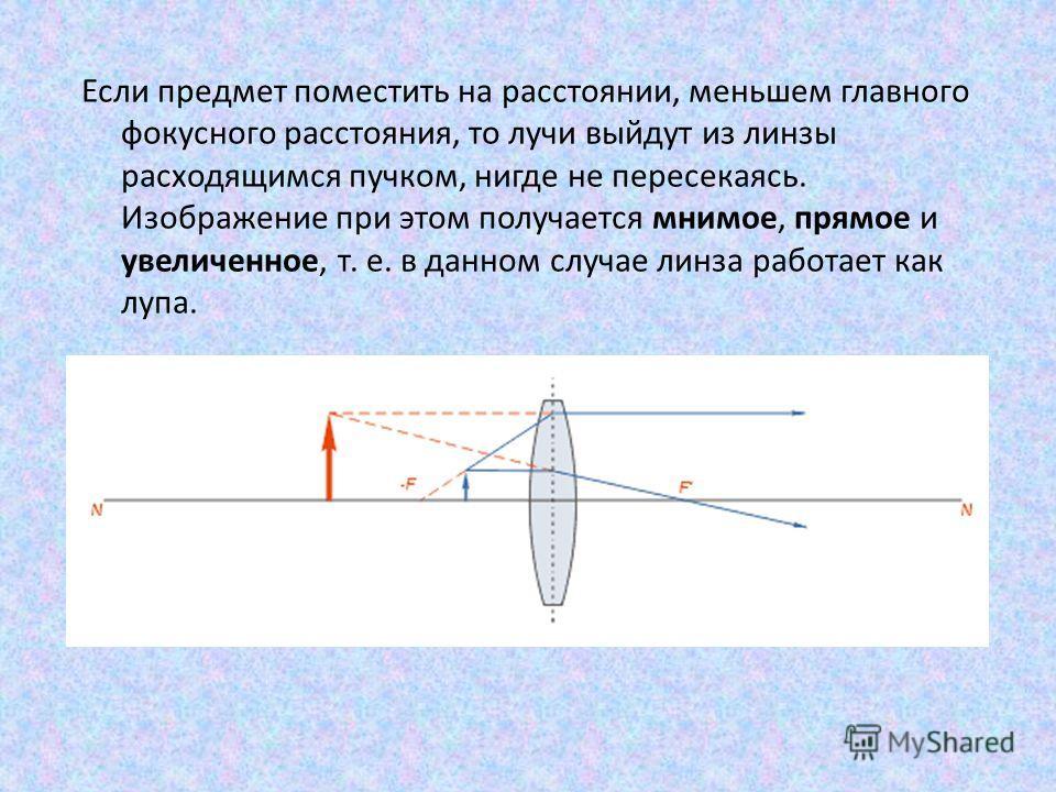 Если предмет поместить на расстоянии, меньшем главного фокусного расстояния, то лучи выйдут из линзы расходящимся пучком, нигде не пересекаясь. Изображение при этом получается мнимое, прямое и увеличенное, т. е. в данном случае линза работает как луп
