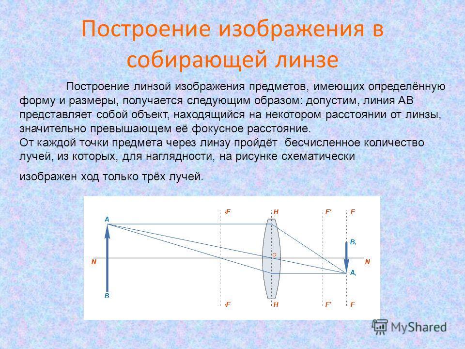 Построение изображения в собирающей линзе Построение линзой изображения предметов, имеющих определённую форму и размеры, получается следующим образом: допустим, линия AB представляет собой объект, находящийся на некотором расстоянии от линзы, значите