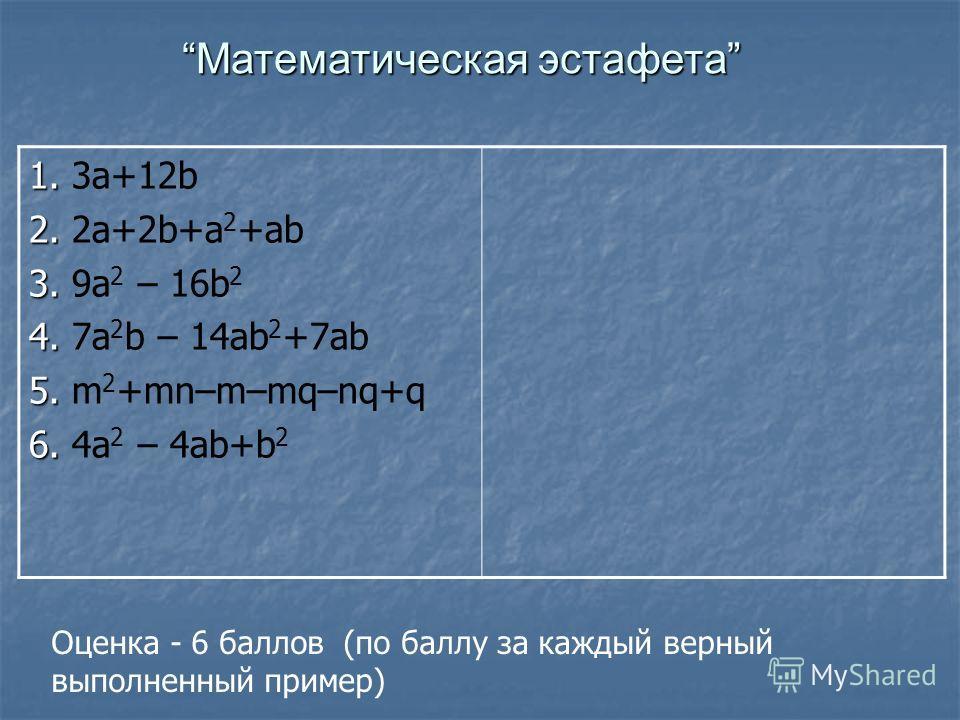 1. 1. 3a+12b 2. 2. 2a+2b+a 2 +ab 3. 3. 9a 2 – 16b 2 4. 4. 7a 2 b – 14ab 2 +7ab 5. 5. m 2 +mn–m–mq–nq+q 6. 6. 4a 2 – 4ab+b 2 Математическая эстафета Оценка - 6 баллов (по баллу за каждый верный выполненный пример)
