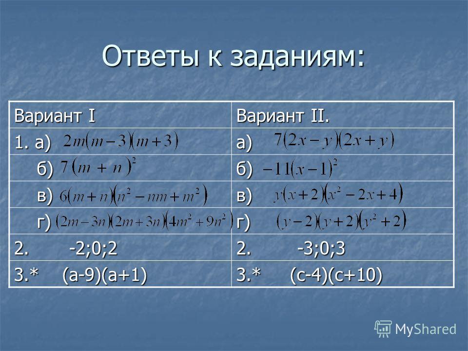 Ответы к заданиям: Вариант I Вариант II. 1. а) а) б) б)б) в) в)в) г) г)г) 2. -2;0;2 2. -3;0;3 3.* (а-9)(а+1) 3.* (с-4)(с+10)