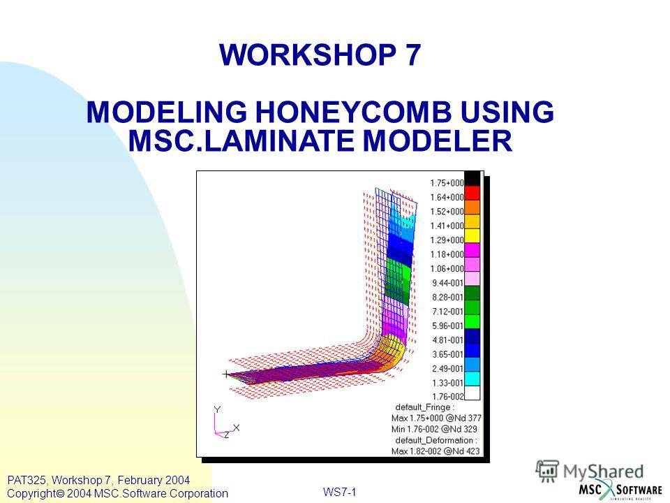 WORKSHOP 7 MODELING HONEYCOMB USING MSC.LAMINATE MODELER WS7-1 PAT325, Workshop 7, February 2004 Copyright 2004 MSC.Software Corporation