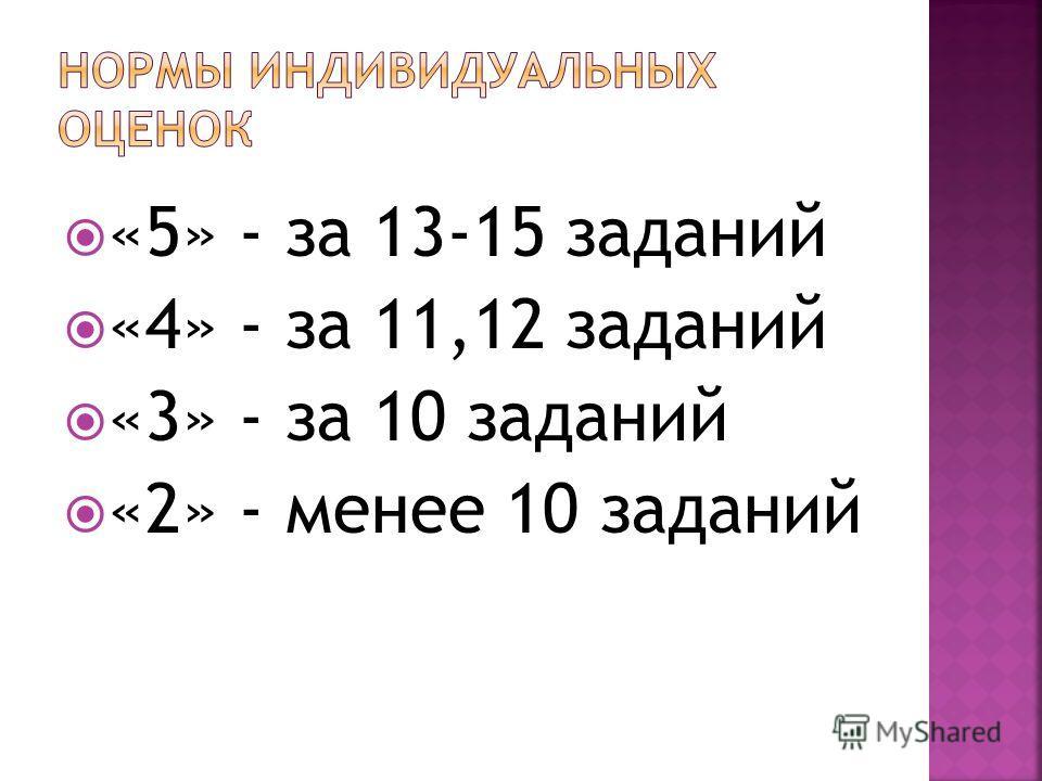 «5» - за 13-15 заданий «4» - за 11,12 заданий «3» - за 10 заданий «2» - менее 10 заданий