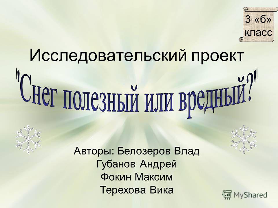 Исследовательский проект Авторы: Белозеров Влад Губанов Андрей Фокин Максим Терехова Вика 3 «б» класс