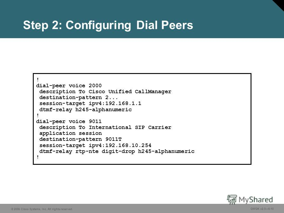 © 2006 Cisco Systems, Inc. All rights reserved. GWGK v2.06-10 Step 2: Configuring Dial Peers ! dial-peer voice 2000 description To Cisco Unified CallManager destination-pattern 2... session-target ipv4:192.168.1.1 dtmf-relay h245-alphanumeric ! dial-