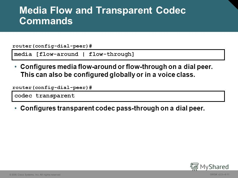 © 2006 Cisco Systems, Inc. All rights reserved. GWGK v2.06-11 Media Flow and Transparent Codec Commands media [flow-around | flow-through] router(config-dial-peer)# Configures media flow-around or flow-through on a dial peer. This can also be configu
