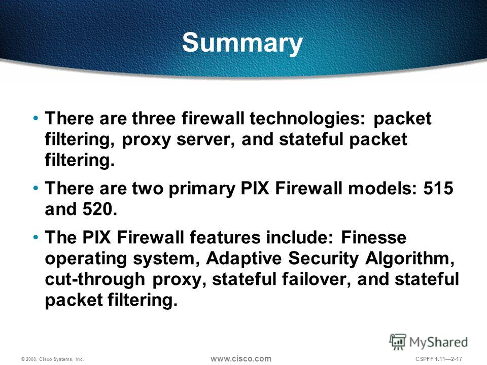 © 2000, Cisco Systems, Inc. www.cisco.com CSPFF 1.112-17 Summary There are three firewall technologies: packet filtering, proxy server, and stateful packet filtering. There are two primary PIX Firewall models: 515 and 520. The PIX Firewall features i