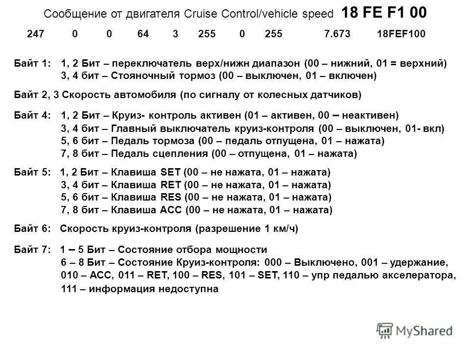 Cообщение от двигателя Cruise Control/vehicle speed 18 FE F1 00 Байт 1: 1, 2 Бит – переключатель верх/нижн диапазон (00 – нижний, 01 = верхний) 3, 4 бит – Стояночный тормоз (00 – выключен, 01 – включен) Байт 2, 3 Скорость автомобиля (по сигналу от ко
