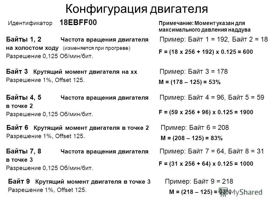 Конфигурация двигателя Идентификатор 18ЕВFF00 Байты 1, 2 Частота вращения двигателя на холостом ходу (изменяется при прогреве) Разрешение 0,125 Об/мин/бит. Пример: Байт 1 = 192, Байт 2 = 18 F = (18 x 256 + 192) x 0.125 = 600 Байт 3 Крутящий момент дв