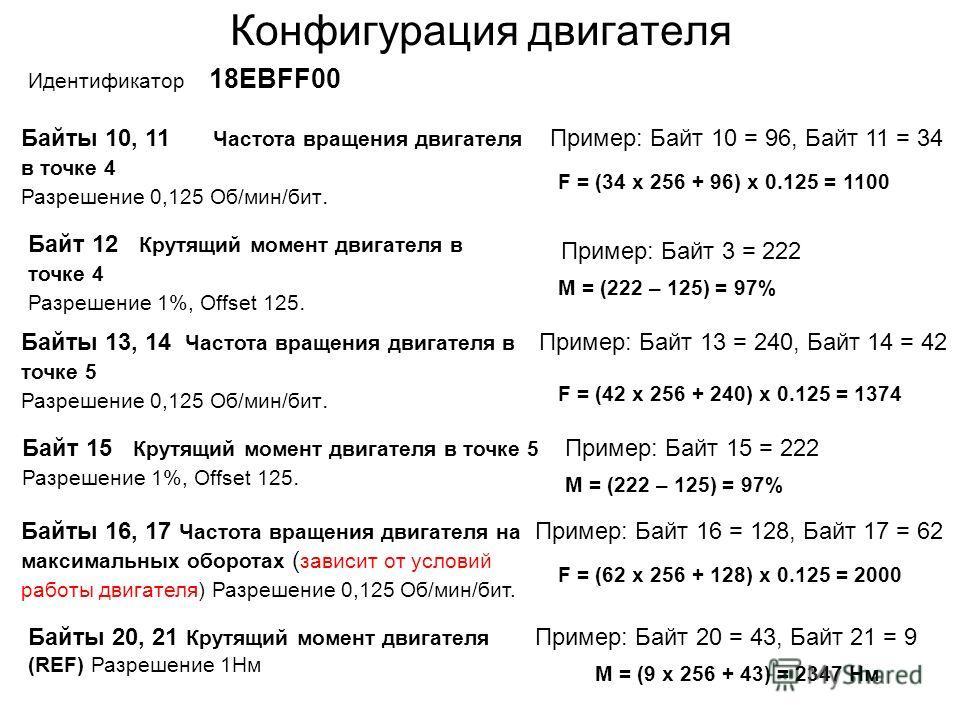 Конфигурация двигателя Идентификатор 18ЕВFF00 Байты 10, 11 Частота вращения двигателя в точке 4 Разрешение 0,125 Об/мин/бит. Пример: Байт 10 = 96, Байт 11 = 34 F = (34 x 256 + 96) x 0.125 = 1100 Байт 12 Крутящий момент двигателя в точке 4 Разрешение