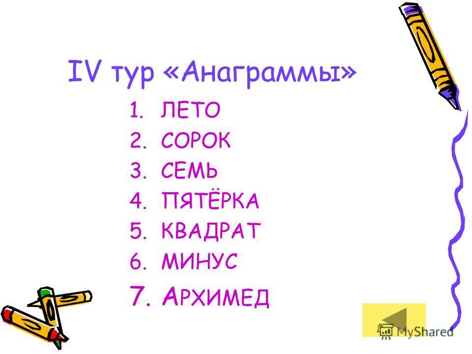 IV тур «Анаграммы» 1. ЛЕТО 2. СОРОК 3. СЕМЬ 4.ПЯТЁРКА 5. КВАДРАТ 6. МИНУС 7. А РХИМЕД