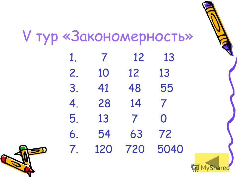 V тур «Закономерность» 1. 7 12 13 2. 10 12 13 3. 41 48 55 4. 28 14 7 5. 13 7 0 6. 54 63 72 7. 120 720 5040