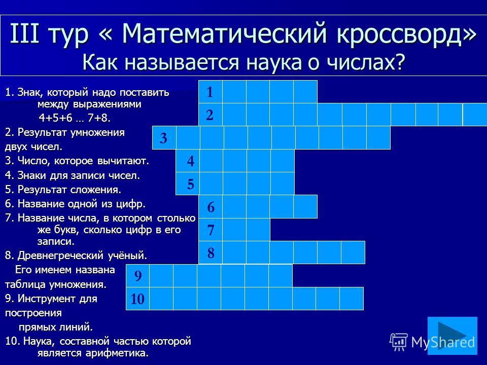 III тур « Математический кроссворд» Как называется наука о числах? 1. Знак, который надо поставить между выражениями 4+5+6 … 7+8. 4+5+6 … 7+8. 2. Результат умножения двух чисел. 3. Число, которое вычитают. 4. Знаки для записи чисел. 5. Результат слож