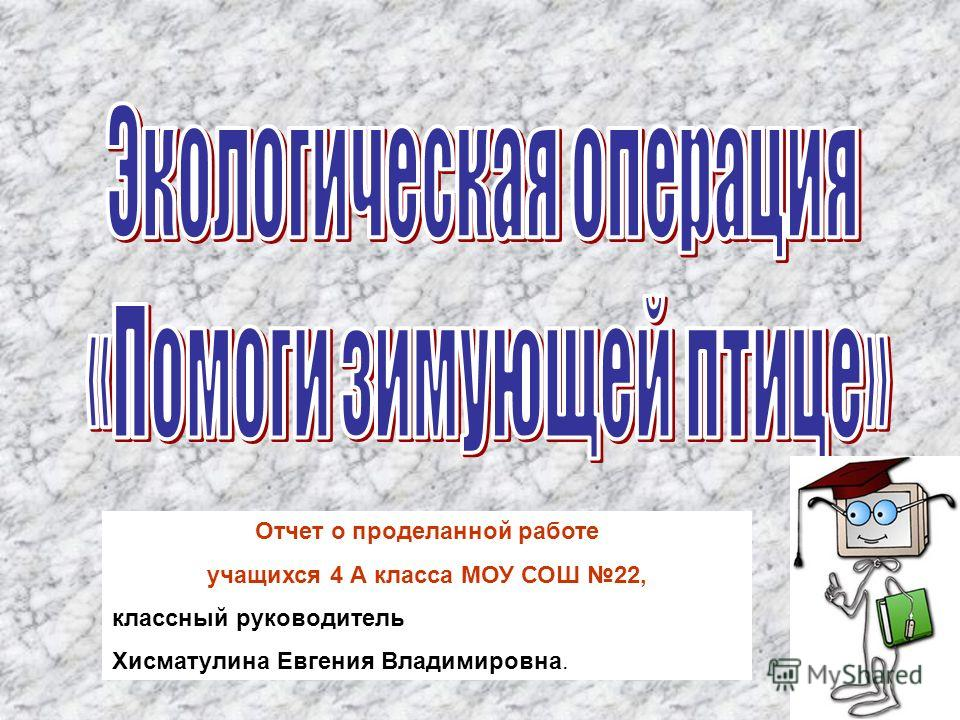 Отчет о проделанной работе учащихся 4 А класса МОУ СОШ 22, классный руководитель Хисматулина Евгения Владимировна.
