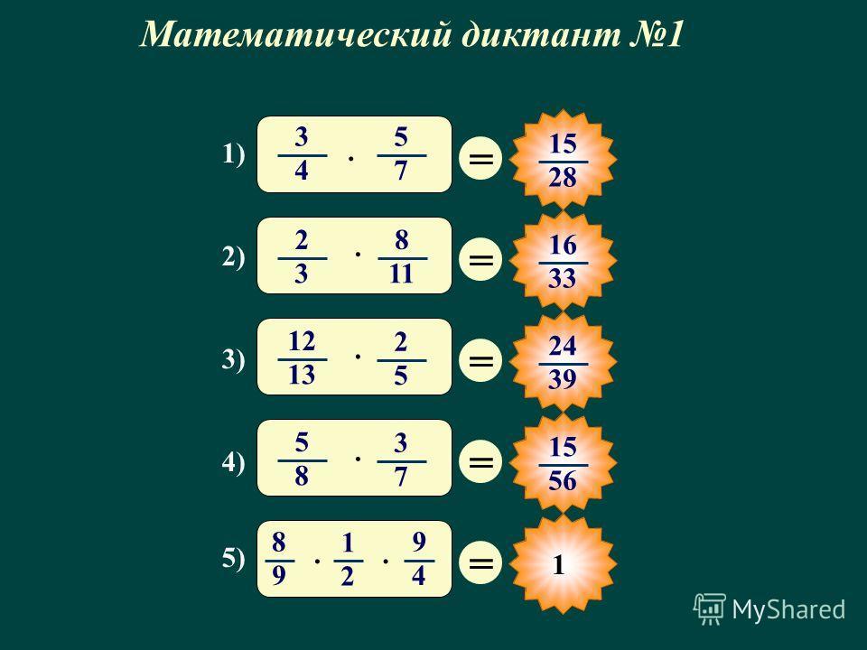 1 Математический диктант 1 1) 2) 3) 4) 5) = 15 28 = 16 33 = 24 39 = 15 56 = 3 4 5 7 · 12 1313 2 5 · 2 3 8 11 · 5 8 3 7 · 8 9 1 2 9 4 ··