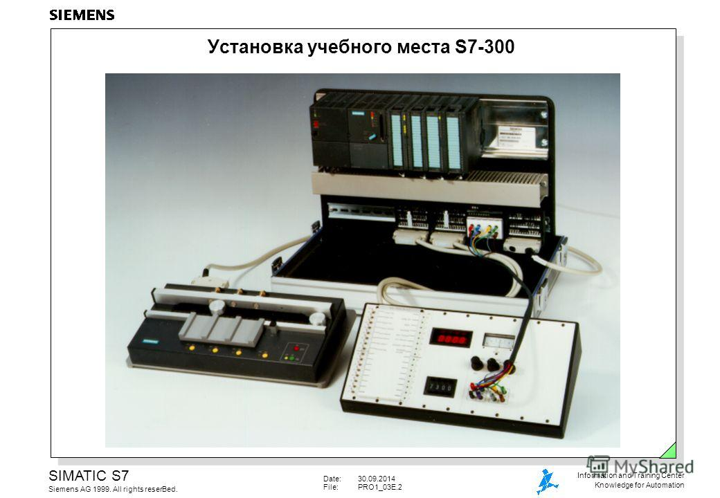 Date:30.09.2014 File:PRO1_03E.2 SIMATIC S7 Siemens AG 1999. All rights reserВed. Information and Training Center Knowledge for Automation Установка учебного места S7-300