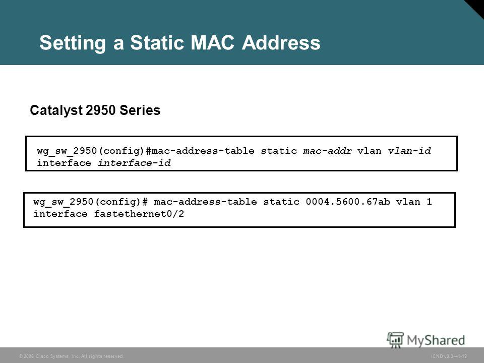 © 2006 Cisco Systems, Inc. All rights reserved. ICND v2.31-12 wg_sw_2950(config)#mac-address-table static mac-addr vlan vlan-id interface interface-id Catalyst 2950 Series wg_sw_2950(config)# mac-address-table static 0004.5600.67ab vlan 1 interface f