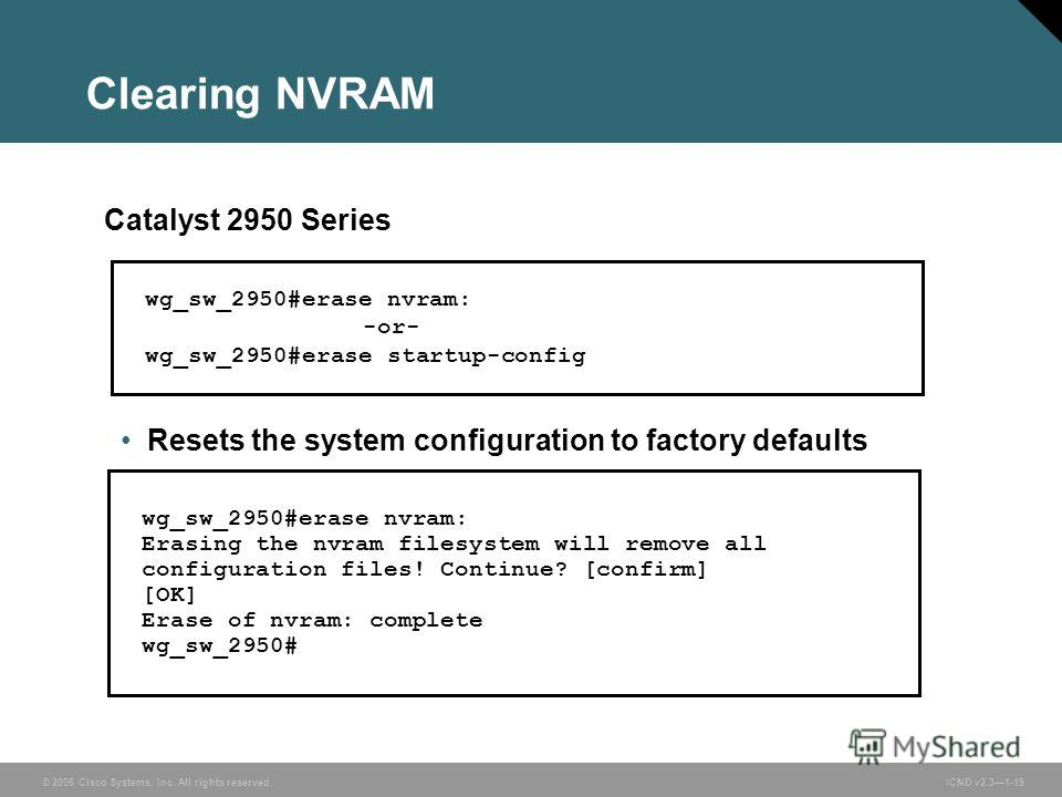 © 2006 Cisco Systems, Inc. All rights reserved. ICND v2.31-19 Resets the system configuration to factory defaults wg_sw_2950#erase nvram: -or- wg_sw_2950#erase startup-config Catalyst 2950 Series wg_sw_2950#erase nvram: Erasing the nvram filesystem w