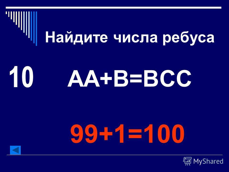 Найдите числа ребуса АА+В=ВСС 99+1=100