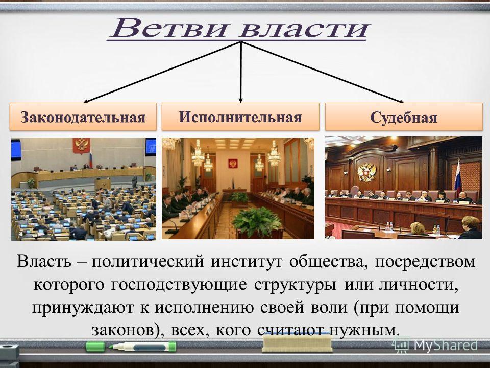 Власть – политический институт общества, посредством которого господствующие структуры или личности, принуждают к исполнению своей воли (при помощи законов), всех, кого считают нужным.