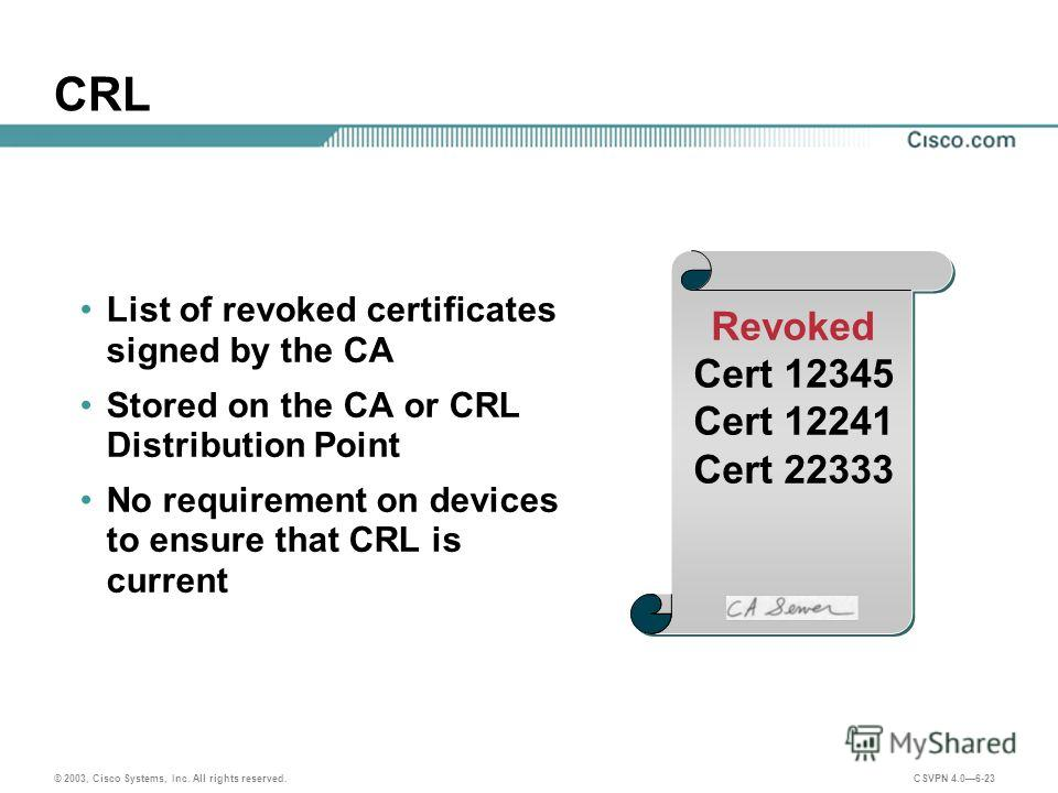 © 2003, Cisco Systems, Inc. All rights reserved. CSVPN 4.06-23 CRL List of revoked certificates signed by the CA Stored on the CA or CRL Distribution Point No requirement on devices to ensure that CRL is current Revoked Cert 12345 Cert 12241 Cert 223