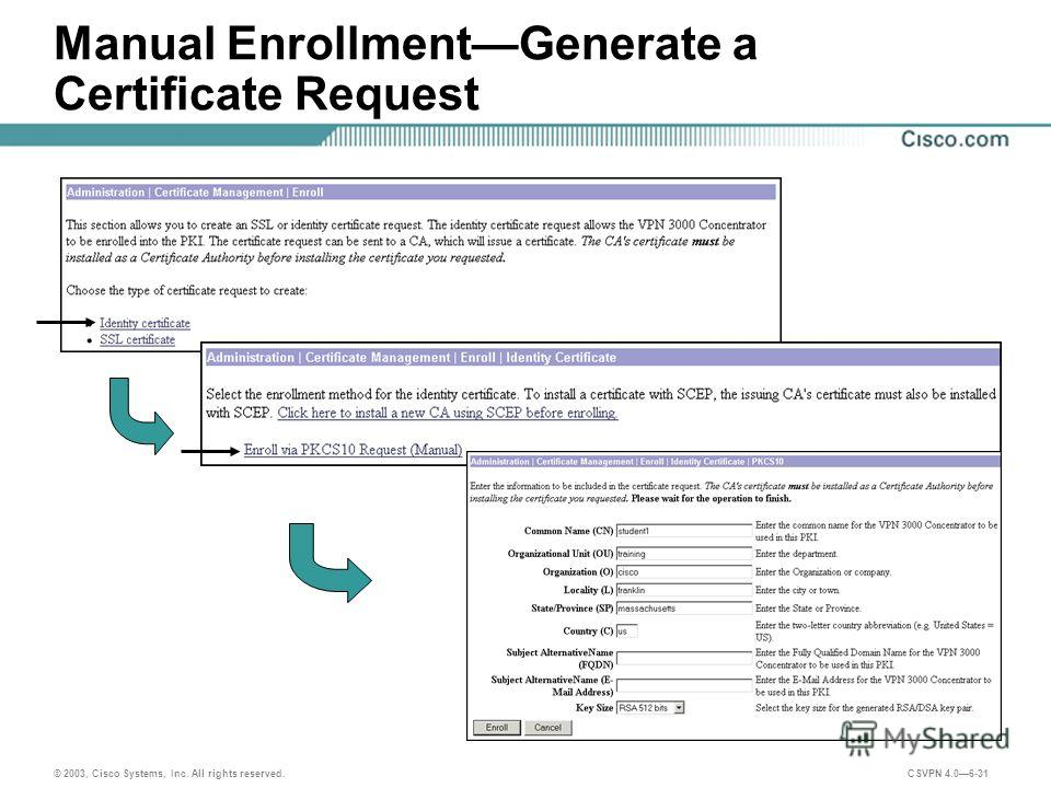 © 2003, Cisco Systems, Inc. All rights reserved. CSVPN 4.06-31 Manual EnrollmentGenerate a Certificate Request