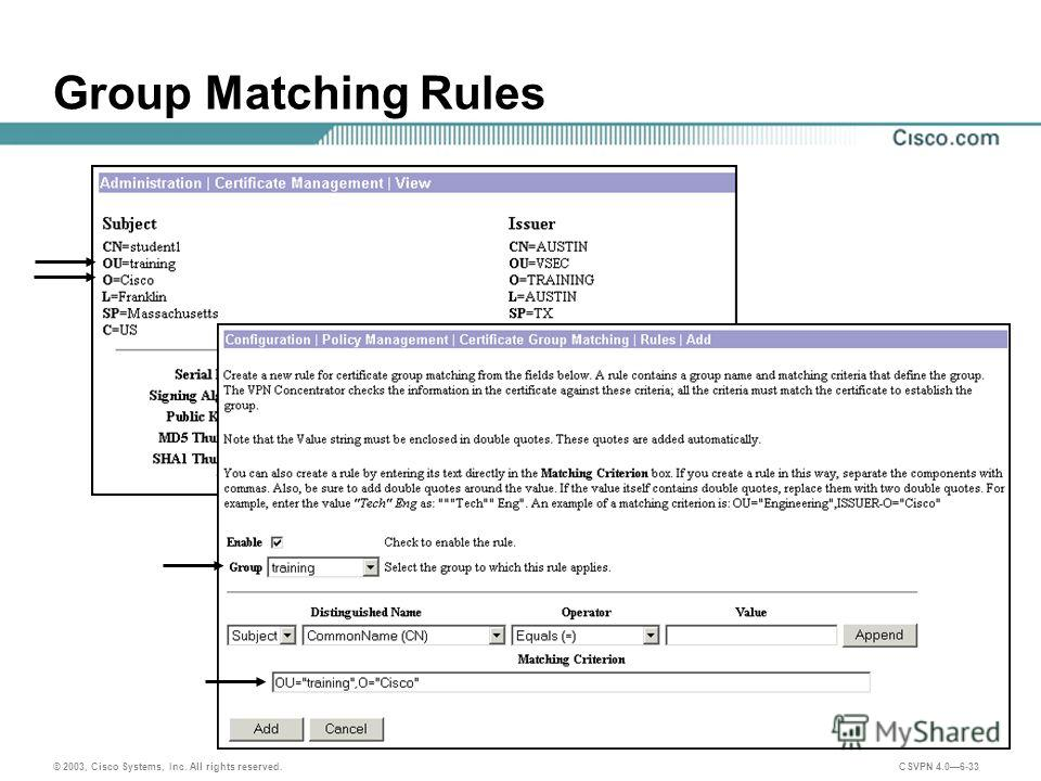 © 2003, Cisco Systems, Inc. All rights reserved. CSVPN 4.06-33 Group Matching Rules