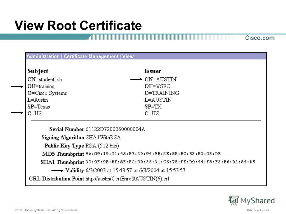© 2003, Cisco Systems, Inc. All rights reserved. CSVPN 4.06-38 View Root Certificate