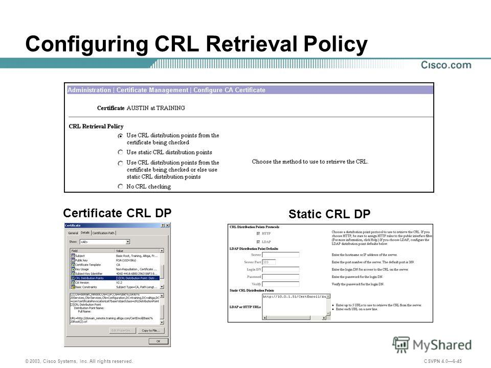 © 2003, Cisco Systems, Inc. All rights reserved. CSVPN 4.06-45 Configuring CRL Retrieval Policy Certificate CRL DP Static CRL DP