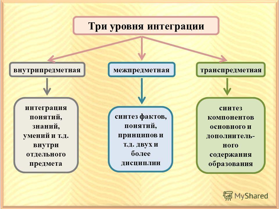 Три уровня интеграции внутрипредметная интеграция понятий, знаний, умений и т.д. внутри отдельного предмета межпредметная синтез фактов, понятий, принципов и т.д. двух и более дисциплин транспредметная синтез компонентов основного и дополнитель- ного