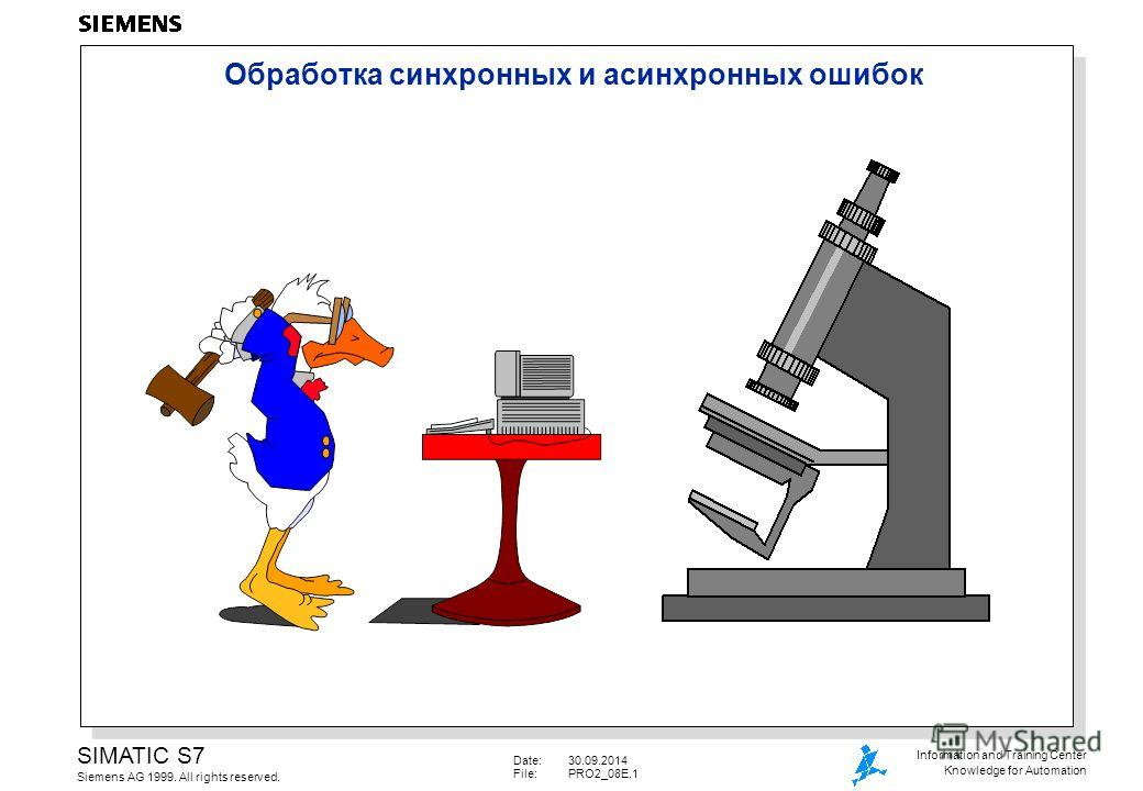 Date:30.09.2014 File:PRO2_08E.1 SIMATIC S7 Siemens AG 1999. All rights reserved. Information and Training Center Knowledge for Automation Обработка cинхронных и асинхронных ошибок