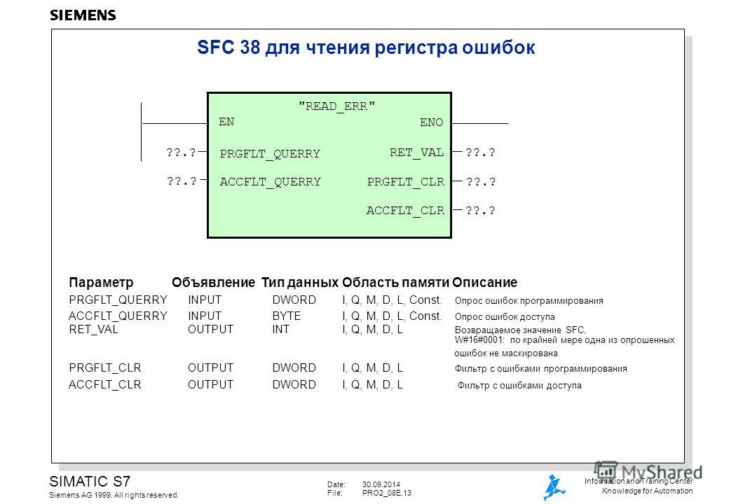 Date:30.09.2014 File:PRO2_08E.13 SIMATIC S7 Siemens AG 1999. All rights reserved. Information and Training Center Knowledge for Automation SFC 38 для чтения регистра ошибок