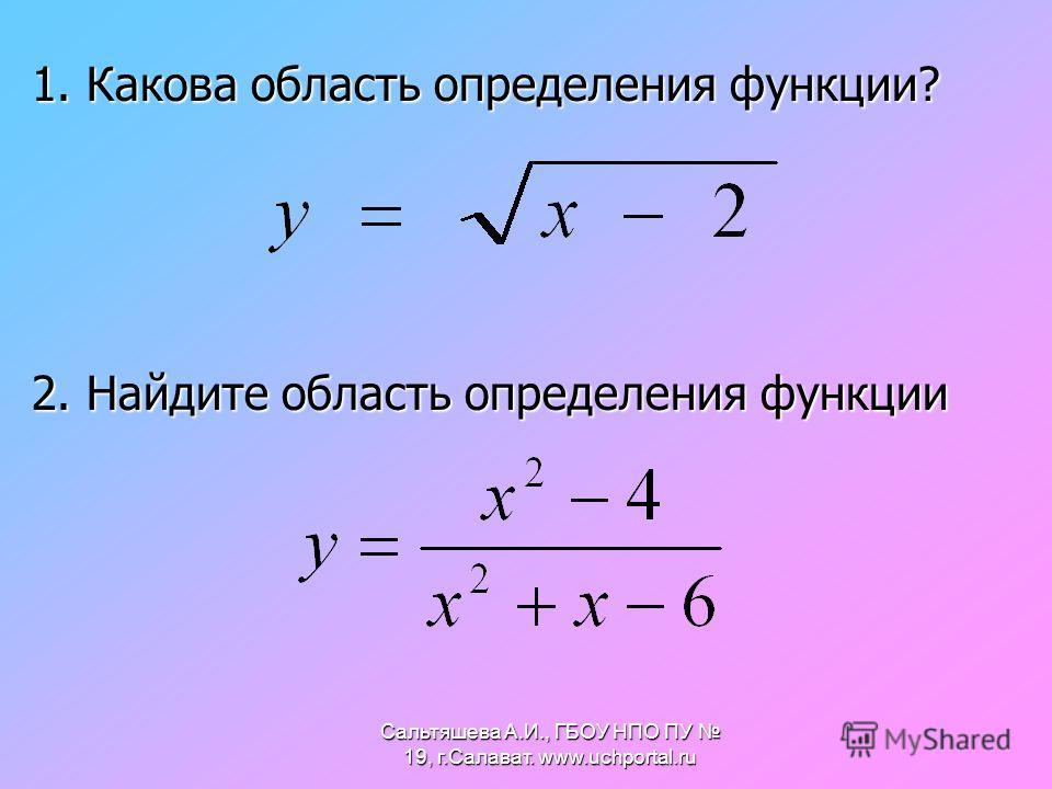 1. Какова область определения функции? 2. Найдите область определения функции Сальтяшева А.И., ГБОУ НПО ПУ 19, г.Салават. www.uchportal.ru