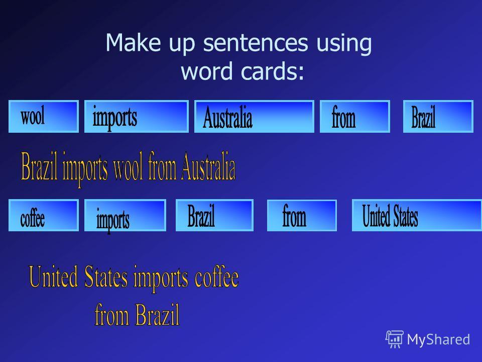 Make up sentences using word cards: