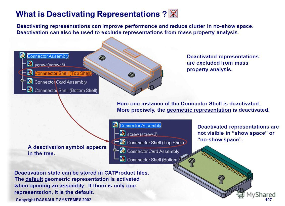 Copyright DASSAULT SYSTEMES 2002107 What is Deactivating Representations ? Deactivating representations can improve performance and reduce clutter in no-show space. Deactivation can also be used to exclude representations from mass property analysis.