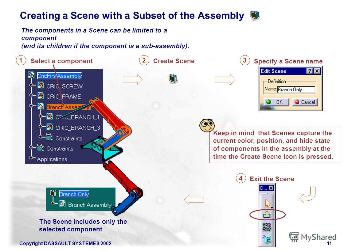 Copyright DASSAULT SYSTEMES 200211 Specify a Scene name Select a component 31 Create Scene 2 Exit the Scene 4 The Scene includes only the selected component Keep in mind that Scenes capture the current color, position, and hide state of components in