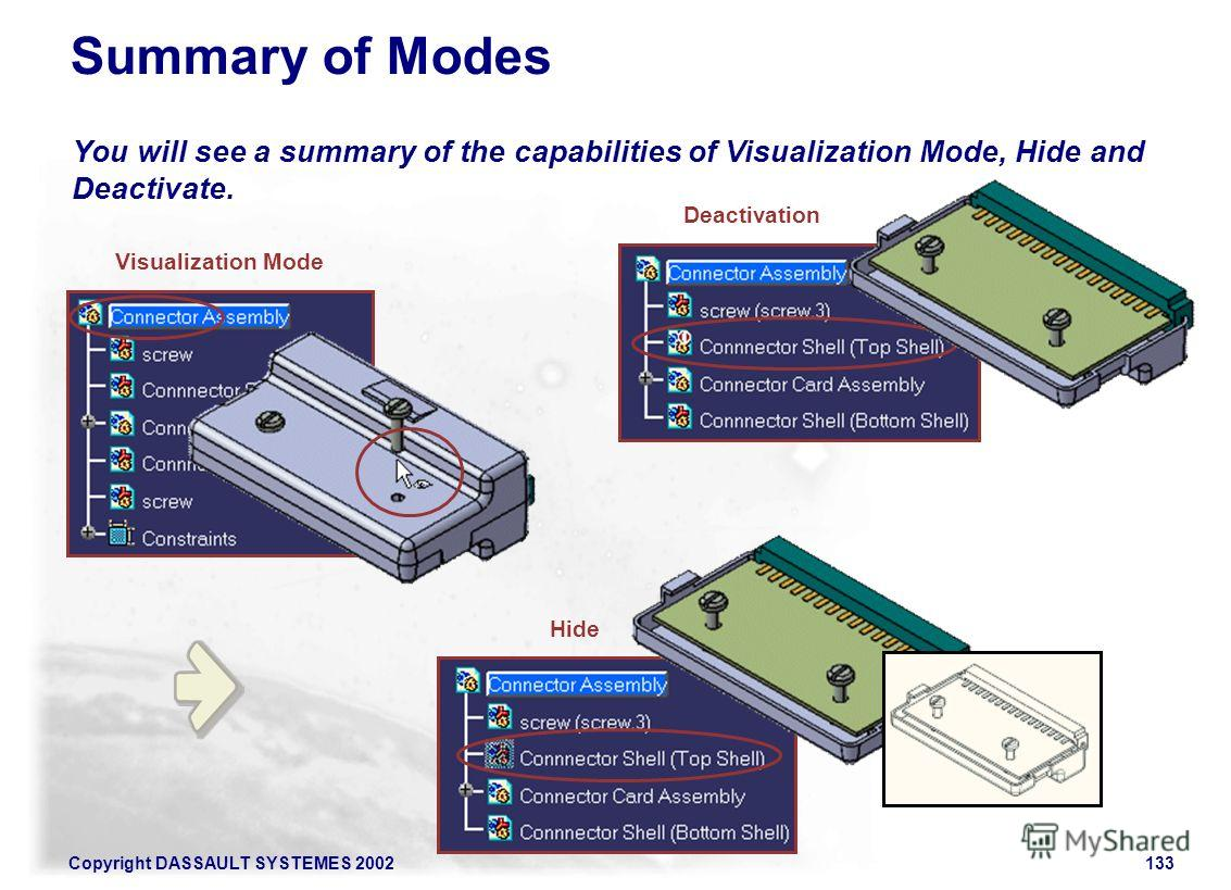 Copyright DASSAULT SYSTEMES 2002133 You will see a summary of the capabilities of Visualization Mode, Hide and Deactivate. Summary of Modes Visualization Mode Deactivation Hide