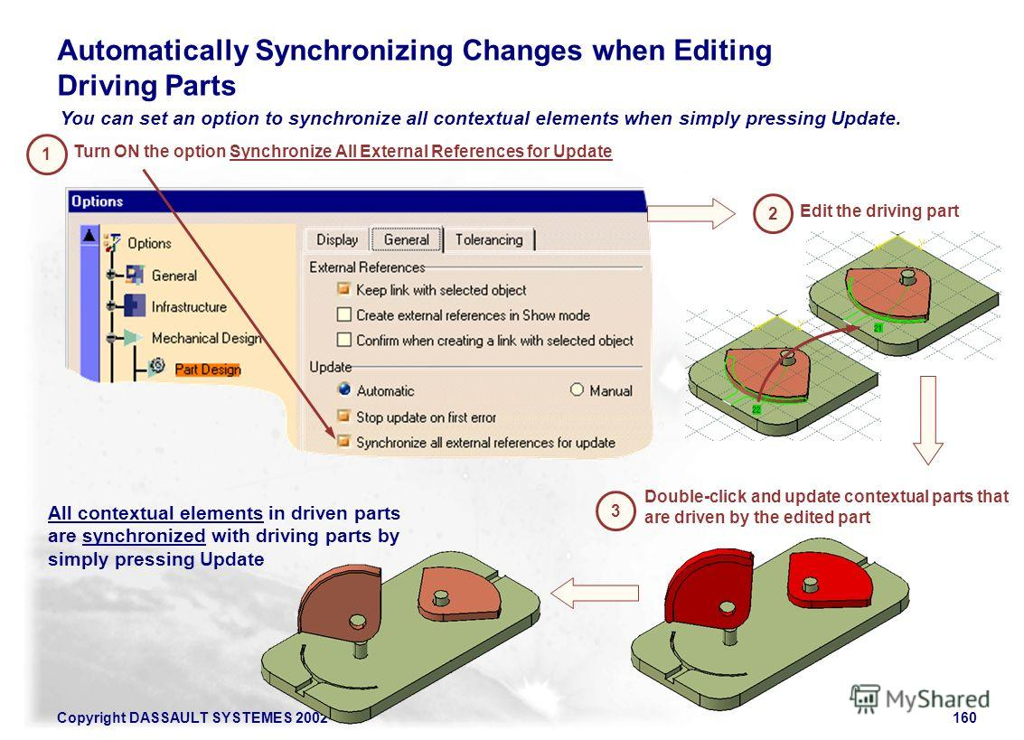 Copyright DASSAULT SYSTEMES 2002160 You can set an option to synchronize all contextual elements when simply pressing Update. Automatically Synchronizing Changes when Editing Driving Parts Turn ON the option Synchronize All External References for Up