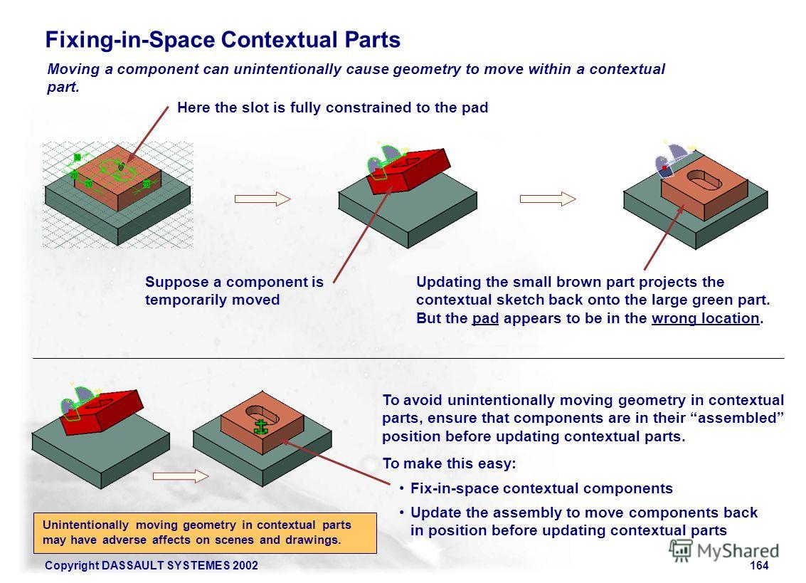 Copyright DASSAULT SYSTEMES 2002164 Moving a component can unintentionally cause geometry to move within a contextual part. Fixing-in-Space Contextual Parts Here the slot is fully constrained to the pad Suppose a component is temporarily moved Updati