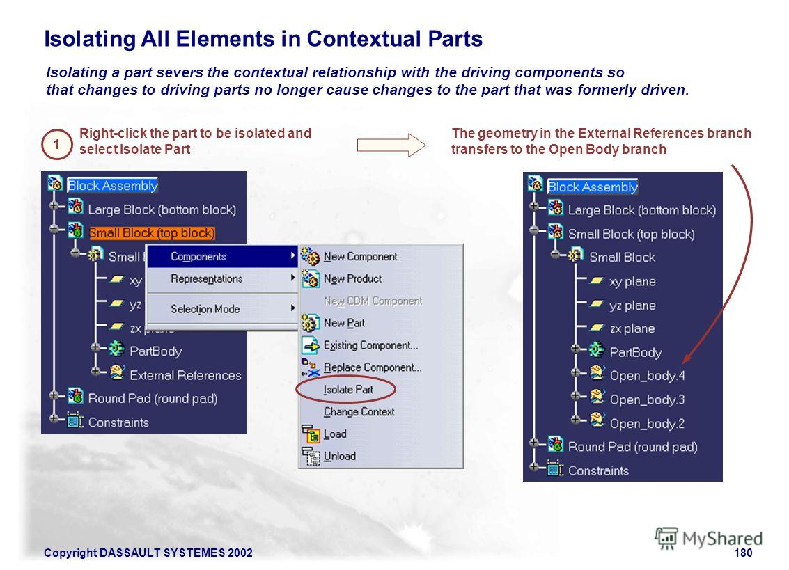 Copyright DASSAULT SYSTEMES 2002180 Isolating a part severs the contextual relationship with the driving components so that changes to driving parts no longer cause changes to the part that was formerly driven. Isolating All Elements in Contextual Pa