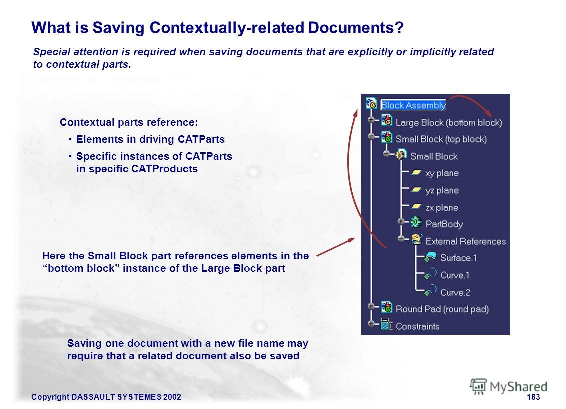 Copyright DASSAULT SYSTEMES 2002183 What is Saving Contextually-related Documents? Special attention is required when saving documents that are explicitly or implicitly related to contextual parts. Here the Small Block part references elements in the