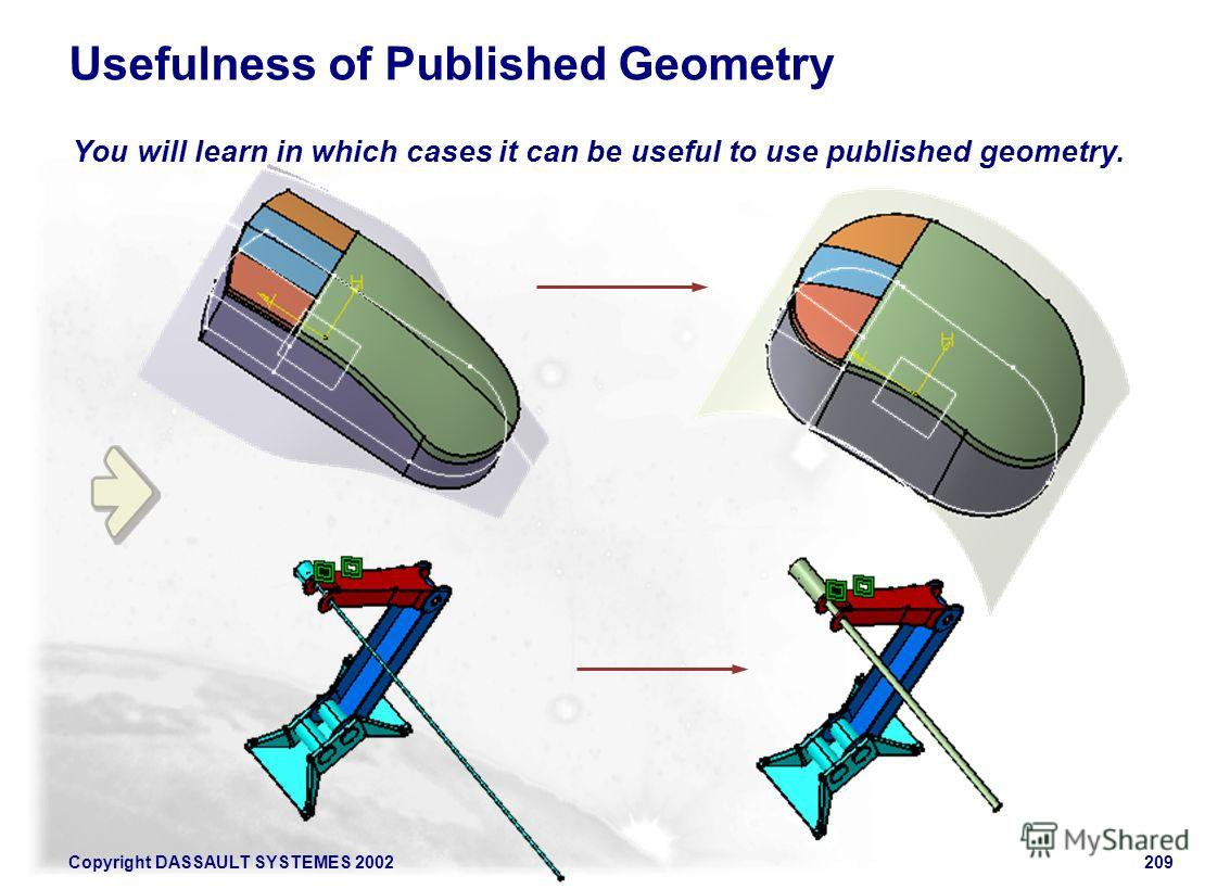Copyright DASSAULT SYSTEMES 2002209 You will learn in which cases it can be useful to use published geometry. Usefulness of Published Geometry