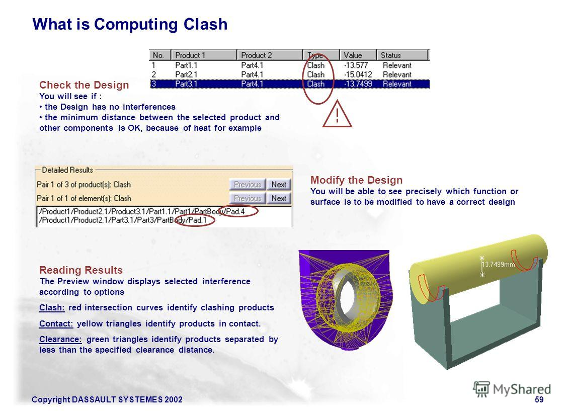 Copyright DASSAULT SYSTEMES 200259 What is Computing Clash Check the Design You will see if : the Design has no interferences the minimum distance between the selected product and other components is OK, because of heat for example Modify the Design