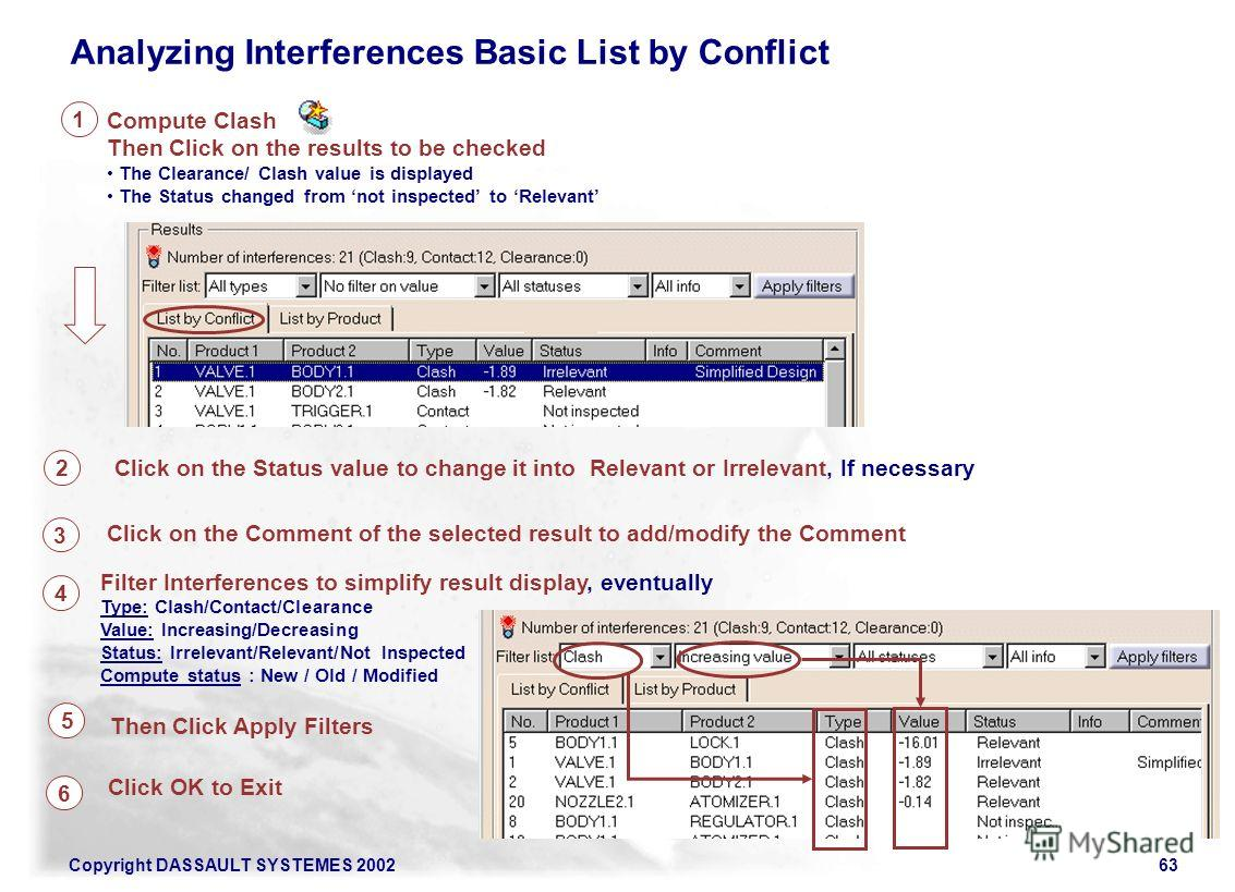 Copyright DASSAULT SYSTEMES 200263 Analyzing Interferences Basic List by Conflict Compute Clash Then Click on the results to be checked The Clearance/ Clash value is displayed The Status changed from not inspected to Relevant 1 2 4 Filter Interferenc